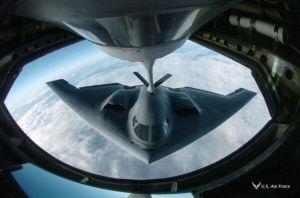 A B-2 stealth bomber refuels.